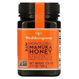 Wedderspoon, Raw Mono-flower Manuka Honey, KFactor 16, 1.1 lbs (500 g)