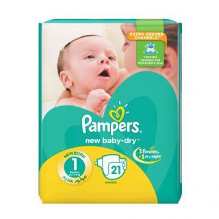Pampers New Baby Dry Size (1) 2-5kg - 21 Count