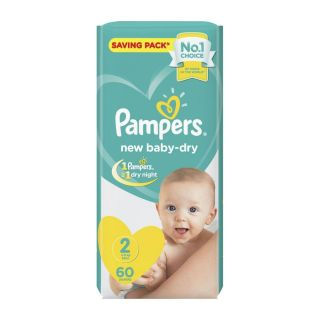 Pampers New Baby Dry Size (2) 3-8kg Mini - 60 Count