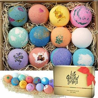 12 uniquely handcrafted bath bombs. Functional and relaxing. Great Mothers day gifts. Truly made in California, USA freshly with premium USA natural ingredients - fizzes with colors, will not stain your tub! Therapeutic and Moisturizing bath bombs, form