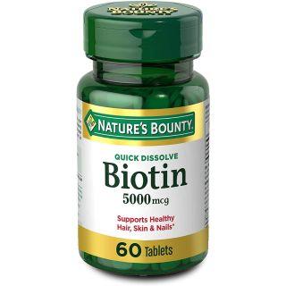 Nature's Bounty Biotin Quick Dissolve Tablets, Strawberry, 5000 mcg