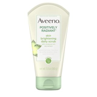Aveeno Positively Radiant Skin Brightening Exfoliating Daily Facial Scrub, Moisture-Rich Soy Extract, Soap-Free, Hypoallergenic & Non-Comedogenic Face Cleanser, 5 Ounce