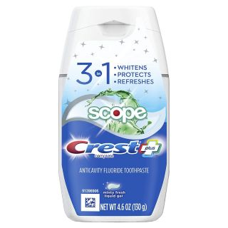 Crest Complete Plus Scope 3-in-1 Teeth Whitening Liquid Gel Toothpaste 4.6 Ounce (Pack of 6)