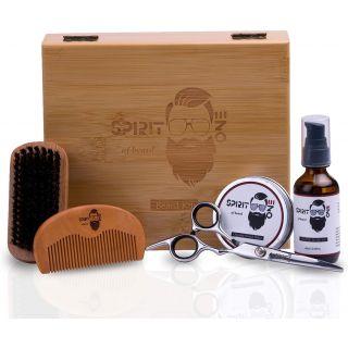 Beard kit, Premium Beard Grooming Kit for Men, Unscented Organic Oil, Beard Growth Kit Beard Balm With Boar Bristle Beard Brush, Beard Comb, Stainless Steel Barber Scissors, Ramadan Gift for Men