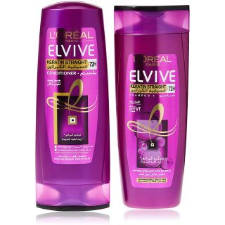 L'oreal Elvive Keratin Straight Shampoo 400ml + Conditioner 400ml