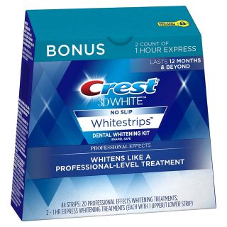 Crest 3D White Professional Effects Whitestrips 20 Treatments + Crest 3D White 1 Hour Express Whitestrips 2 Treatments - Teeth Whitening Kit