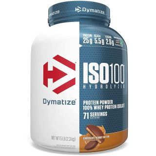 Dymatize ISO 100 Whey Protein Powder with 25g of Hydrolyzed 100% Whey Isolate, Gluten Free, Fast Digesting, Chocolate Peanut Butter, 5 Pound (13007)
