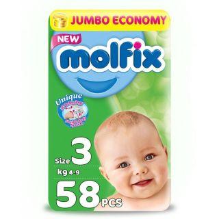 Molfix Diapers Jumbo Pack Midi with Unique 3D Technology - Jumbo Economy Pack 58 Pcs, Size 3