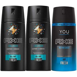 Axe Bodyspray for men Collision Leather and Cookies, 150ml, 2 pieces + Axe You Refresh Bodyspray FREE