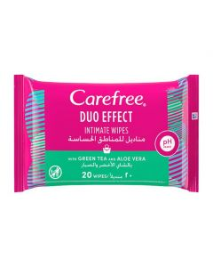 Carefree Duo Effect Intimate Wipes With Green Tea And Aloe Vera 20pcs