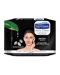 Septona Detox Active Charcoal Makeup Remover Cleansing Wipes – 20pcs