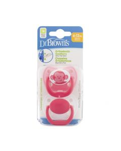 Dr. Brown's Orthodontic Soother Pacifier 6-12m 2psc - Pink