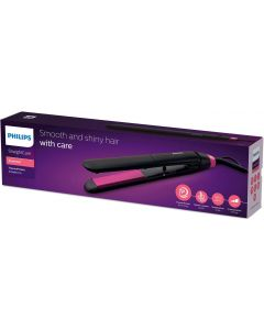 PHILIPS StraightCare Essential ThermoProtect straightener. 2 temperature settings. Temperature range up to 220°C. 3 pin. Warm Black/Pink. BHS375/03