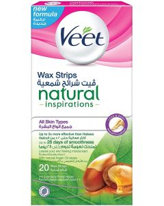 Veet Hair Removal Natural Cold Wax Strips Argan Oil Legs 20 Count