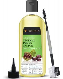 Castor Oil for Eyelashes, Eyebrows by Soulflower Pure Tropical Indian Coldpressed Oil - Boosts Hair Growth 6.77 fl. Oz. Hexane Free with - BONUS Nozzle & Brush