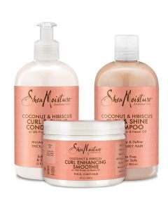 Shea Moisture Coconut and Hibiscus Combination Pack - 13 oz. Curl & Shine Shampoo, 13 oz. Curl & Shine Conditioner & 12 oz. Curl Enhancing Smoothie
