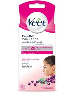 Veet Easy-Gel Face Wax Strips for Sensitive Skin, 20 Strips