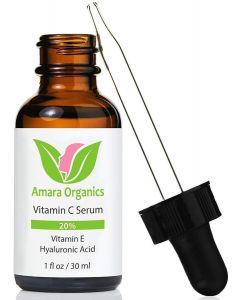 Amara Organics Vitamin C Serum for Face 20% with Hyaluronic Acid and Vitamin E, 1 fl. oz.