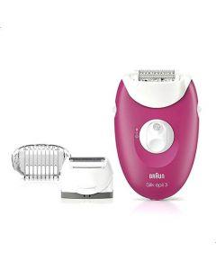 Braun Silk epil 3 3-410 epilator raspberry pink - Corded epilator with 3 extras